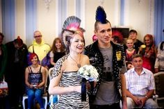 You don't give a damn about your bad reputation, and you don't care about frilly white gowns or couples' cocktails, either. Punk Wedding, Crazy Wedding, Wedding Pics, Wedding Ideas, Urban Tribes, White Gowns, Punk Fashion, Traditional Wedding, My Hair