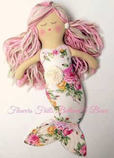 Image of underwater love mermaid dolly - Pearl … Doll Crafts, Diy Doll, Sewing Crafts, Sewing Projects, Baby Dolls, Doll Toys, Muñeca Diy, Mermaid Fabric, Mermaid Crafts