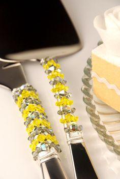 SWAROVSKI Wedding Cake Server and Knife Set by TheVintageWedding, $89.99