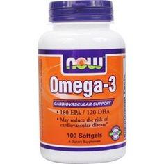 18,85€ - Now Omega 3 1000mg 100 perlas -El Concentrado Natural de Aceite de Pescado que se utiliza en esta cápsula suave está fabricado bajo estrictos controles de calidad. La prueba se hace para estar libre de niveles potencialmente dañinos de los contaminantes (es decir, el mercurio, metales pesados, PCBs, dioxinas y otros contaminantes). La investigación muestra que el consumo de EPA y DHA ácidos grasos omega-3 puede reducir el riesgo de enfermedad coronaria.