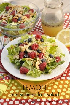 Enjoy the fresh lemon poppyseed dressing with any of your favorite summer fruits. This Lemon and Summer Fruit Salad Recipe would be wonderful with any summer fruit but is especially good with fresh summer berries. Fruit Salad Recipes, Lunch Recipes, Cooking Recipes, Fruit Salads, Fruit Pizzas, Cooking Ideas, Free Recipes, Easy Recipes, Dinner Recipes
