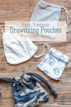 Easily make a drawstring bag in less than 10 minutes with one seam by upcycling old t-shirts and taking advantage of the hem. You can also make a pouch from the sleeves. via Taschen upcycle How to make a Drawstring Bag in under 10 minutes Easy Sewing Projects, Sewing Projects For Beginners, Sewing Hacks, Sewing Tutorials, Sewing Tips, Sewing Crafts, Diy Bags Easy, Simple Bags, Sewing Patterns Free