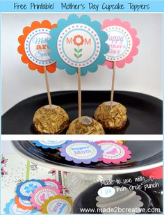 Free Mother's Day Cupcake Toppers.  To use with 1 and 1/4 inch circle punch.