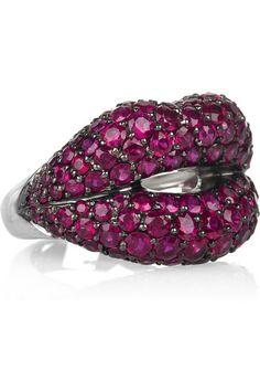 Hot Lips 18-karat white gold ruby ring
