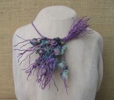 Unique necklace from pieces of silk cocoons