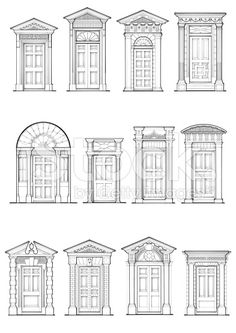 architecture - A selection of Georgian front door details Architecture Classique, Detail Architecture, Georgian Architecture, Classic Architecture, Interior Architecture, Architecture Drawings, Georgian Buildings, Window Design, Door Design