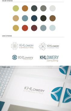 Take a closer look at brand design strategy with Step Brightly's brand exploration and process development for KHLowery Consulting. Beautiful colors and cohesive logo strategy.