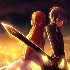 Sword Art Online, Asuna + Kirito, by bright long ago
