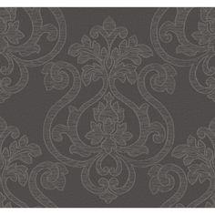 York Wallcoverings Glam Large Medallion x Damask Embossed Wallpaper Color: Dark grey, Metallic silver, Taupe Glam Wallpaper, Metallic Wallpaper, Embossed Wallpaper, Brick Wallpaper, Textured Wallpaper, Wallpaper Roll, Pattern Wallpaper, Dark Grey Wallpaper, Geometric 3d