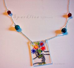 Flower Bouquet Necklace Inspired by Picasso by SparkliesbyAnnie, $26.00