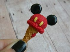 Red Mickey Mouse Ice Cream Cone Polymer Clay Charm x