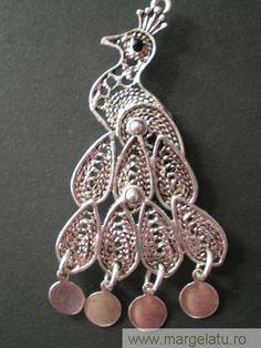Pandantiv paun cu banuti, argint tibetan,coada mobila, 5cmL