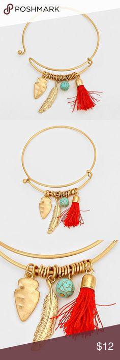 "Feather & Tassel Charm Bracelet • Theme : Tassel  • Size : 1"" H, 2 1/2"" D • Feather & Tassel Charm Bracelet Jewelry Bracelets"