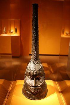 Mask, Benin kingdom court style, Edo peoples, Nigeria, 18th century, Copper alloy, iron