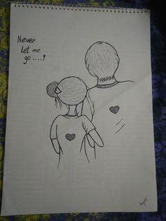 Cute Drawings Of Love, Easy Drawings Sketches, Cute Couple Drawings, Girl Drawing Sketches, Sad Drawings, Girly Drawings, Cool Art Drawings, Pencil Art Drawings, Beautiful Drawings