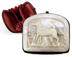 Antique Victorian Coin Purse, Hand Carved Mother of Pearl with Dog, from antiques-uncommon-treasure on Ruby Lane