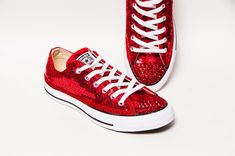 520b9b2c424 Tiny Sequin - Starlight Red Canvas Converse® Low Top Sneakers Tennis Shoes  with Red Rhinestone