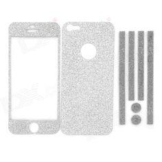 Protección engomadas de la piel Sparkling Diamond Set para Iphone 5 - Plateado