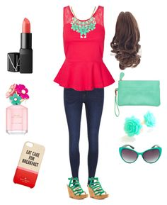 """""""Outfit for Laura Marano"""" by r5superirish ❤ liked on Polyvore featuring ONLY, Vero Moda, Steve Madden, Kate Spade, NARS Cosmetics and Marc Jacobs"""