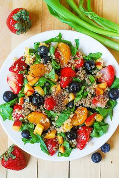 Quinoa salad with spinach, strawberries, and blueberries by JuliasAlbum.com, via Flickr