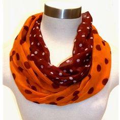 Maroon And Orange Dot Infinity Scarf VT Hokies Women's Scarves Va Tech Infinity Scarf