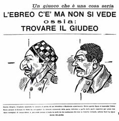 """From """"Journalism"""", Rome, October 2, 1938, p. 3 Center Furio Jesi, Bologna, in The offense of race, p. 82. """"The Giornalissimo"""" was a racist magazine that began publication in February 1938. The caption reads: """"This design, cut along the frame, is suitable for an instructive and delightful experiment. Behind these figures lurks the jew. Just fold design to overlap the horizontal lines of the lower ones of the top for two typical examples of half-jew, and, folding the paper again so as to match…"""