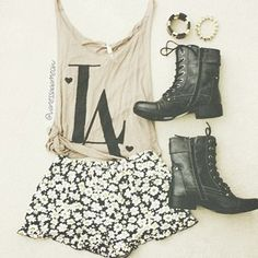 These shorts are the bomb! The outfit is also cute. Tumblr Fashions!