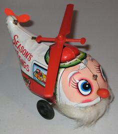 Vintage japan tin toy Wind Up Santa big eye Copter by CANDYLEMON, $29.00