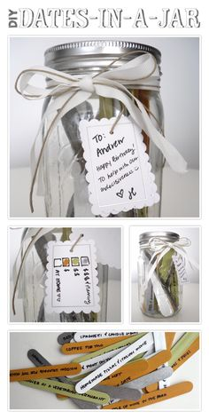 Future wedding shower idea for other people. -- Also: http://www.lifeinthegreenhouse.com/2012/02/date-night-in-jar.html