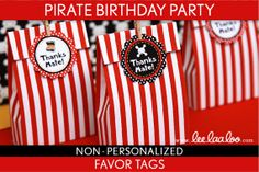 Pirate Birthday Party - Favor Tags & Bonus: Favor Box NonPersonalized Printable // Pirate Girl Red - B8Nk on Etsy, $5.00