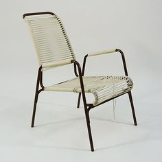 Aimes Air Vintage Outdoor Patio Chair With Cording Or Strapping, Before  Restoration (although It