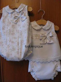 """Ya esta lista la Colección """"Toile de Jouy"""" a ver que os parece. Esta hecha en pique blanco y viuyella con estampado Toile de Jouy beige. ... Smocked Baby Clothes, Cute Baby Clothes, Doll Clothes, Toddler Outfits, Kids Outfits, Baby Dress Tutorials, Baby Sewing Projects, Kids Frocks, Baby Boutique"""