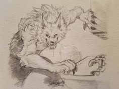 Weird Creatures, Fantasy Creatures, Mythical Creatures, Animal Sketches, Art Sketches, Art Drawings, Werewolf Art, Werewolf Drawings, Creature Drawings