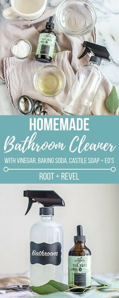 This homemade bathroom cleaner with vinegar, baking soda, castile soap and essential oils is the best DIY all natural bathroom cleaner! It's made without bleach, perfect for cleaning showers, toilets, bathroom counters and soap scum safely and effectively!