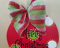 Christmas Door Hanger, Ornament Door Hanger, Merry Christmas Door Hanger, Christmas wreath, Ornament Wreath, Gift, Christmas Door Hanger -    Edit Listing  - Etsy