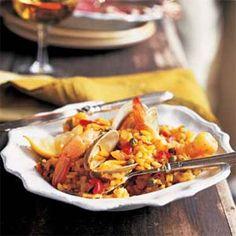 Seafood Paella | MyRecipes.com #myplate #protein #grain