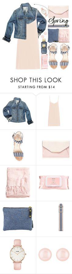 """Spring Pink Silk Dress Denim Jacket"" by jiabao-krohn ❤ liked on Polyvore featuring Boston Proper, Raey, Red Herring, H&M, Mamonde, FOSSIL, CLUSE, Henri Bendel, Maison Francis Kurkdjian and denimjacket"