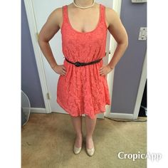 LC Lauren Conrad coral lace dress LC Lauren Conrad coral lace dress size S. Comes with detachable brown braided belt. Has been worn, but in good condition with lots of life left. LC Lauren Conrad Dresses