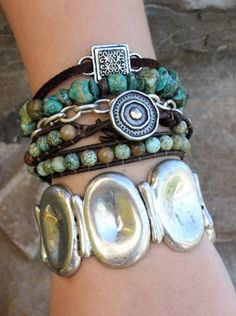 Chunky Silver Bracelet Cuff and Turquoise / Leather Boho Bracelets. Get the whole stack at www.everdesigns.com