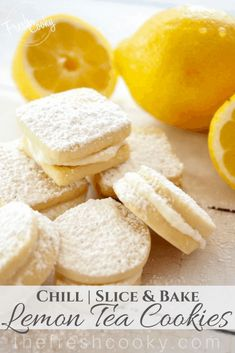 Lemon Shortbread Sandwich Cookies are a light buttery slice and bake cookie with a bright lemon flavor. Tender not overly sweet with a delicious sweet-tart lemon frosting sandwiched between. These might possibly be my favorite cookie. Tea Cookies, Spice Cookies, Lemon Cookies, No Bake Cookies, Yummy Cookies, Slice And Bake Cookie Recipe, Homemade Cookies, Holiday Cookies, Easy Cookie Recipes