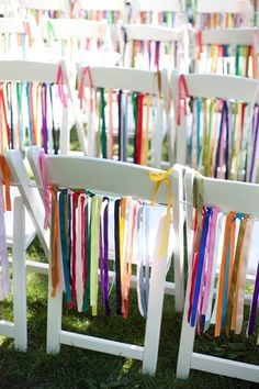 Team K'Mich on ceremony decoration: Back To Back Ribbons. Add your wedding colors to this idea!