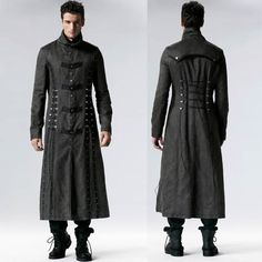 Men Black Grey Gray Leather Military Gothic Trench Coats Overcoats SKU-11401702
