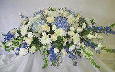 Blue and White Casket Spray - Plumb Farms Flowers, Florist in Prospect, CT Casket Flowers, Grave Flowers, Cemetery Flowers, Funeral Flowers, Funeral Floral Arrangements, Flower Arrangements, Romantic Flowers, Wedding Flowers, White Flowers