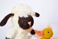 Lamb and Duck needle felted animals spring toys Farm by WoolyTopic