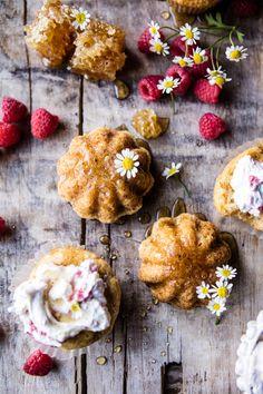 Salted Chamomile Honey Cakes with Raspberry Ripple Cream   halfbakedharvest.com @hbharvest