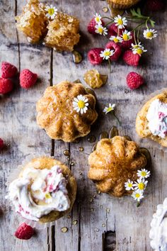 Salted Chamomile Honey Cakes with Raspberry Ripple Cream | halfbakedharvest.com @hbharvest