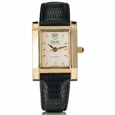 """Emory University Women's Swiss Watch - Gold Quad Watch with Leather Strap by by M.LaHart & Co.. $299.00. Swiss-made quartz movement with 7 jewels.. Three-year warranty.. Attractive M.LaHart & Co. gift box.. Officially licensed by Emory University. Classic American style by M.LaHart. Emory University women's gold watch featuring Emory shield at 12 o'clock and """"Emory University"""" inscribed below on cream dial. Swiss-made quartz movement with 7 jewels. Cream dial with hand-appli..."""