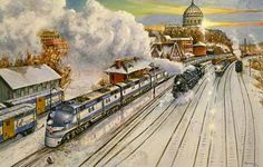 Railroad Print: Missouri River Eagle (Official 1988 UP Christmas painting) by John Bromley