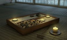 Sand or gravel is said to symbolize water, emptiness, distance, and purity- all places of meditation. Come explore the history and benefits of Zen gardens and why you should add a desktop Zen Garden to your home or office! Via My Zen Decor. Meditation Garden, Meditation Rooms, Yoga Meditation, Yoga Rooms, Meditation Corner, Prayer Garden, Relaxation Room, Zen Space, Feng Shui