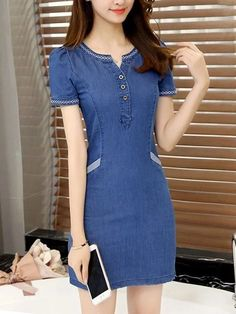 Buy Split Neck Embroidery Denim Bodycon Dress online with cheap prices and discover fashion Bodycon Tight Dresses, Nice Dresses, Casual Dresses, Casual Outfits, Fashion Dresses, Short Sleeve Dresses, Denim Dresses, Casual Clothes, Jeans Dress